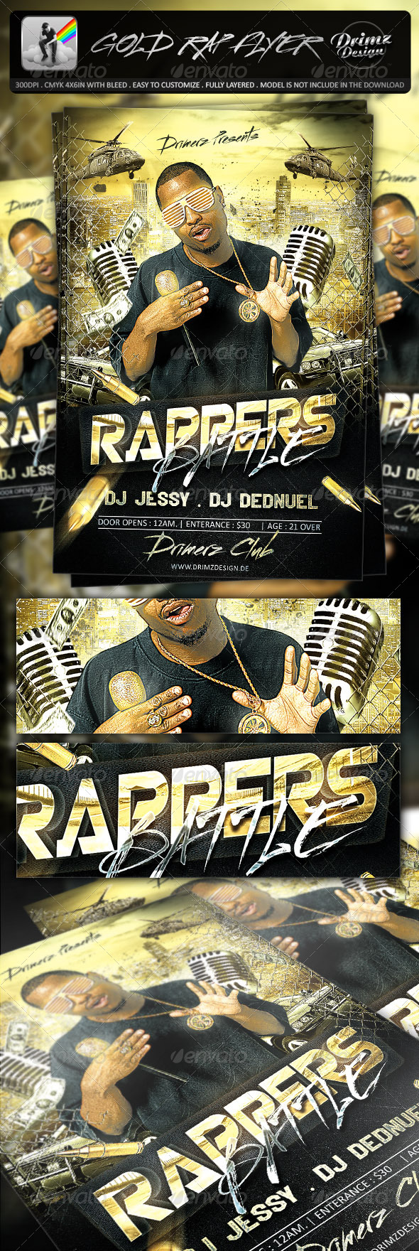 Gold Rap Flyer - Events Flyers