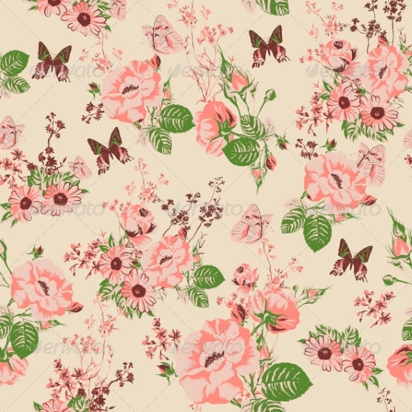 Seamless Roses Background - Patterns Decorative