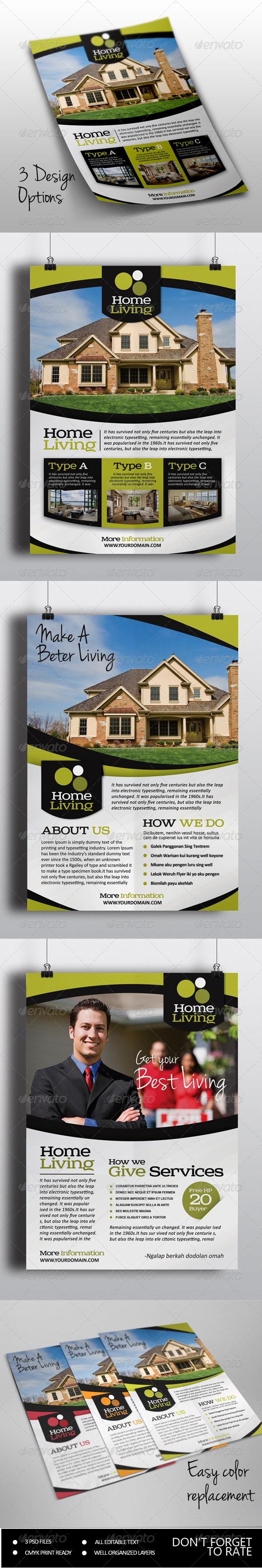 Living Real Estate Flyer - Commerce Flyers