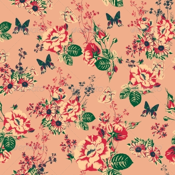 Beautiful Seamless Roses Background - Patterns Decorative