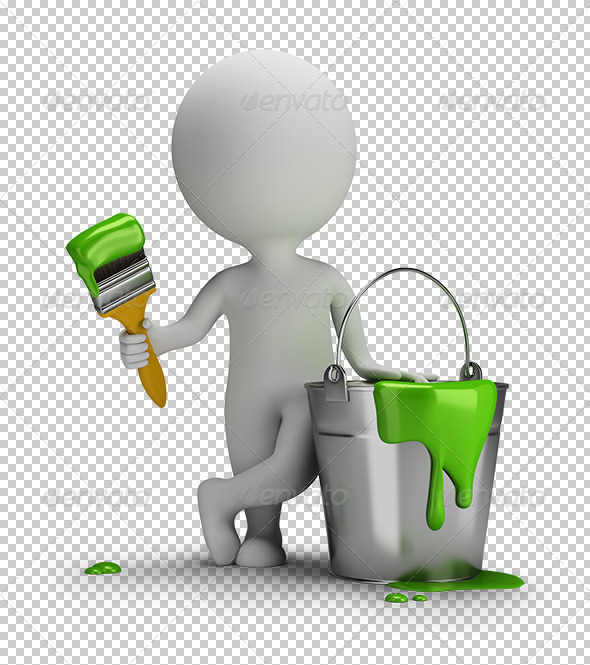 3D Small People with a Brush and a Bucket of Paint - Characters 3D Renders