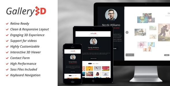 Gallery3d - Fullscreen Portfolio Template - Creative Site Templates