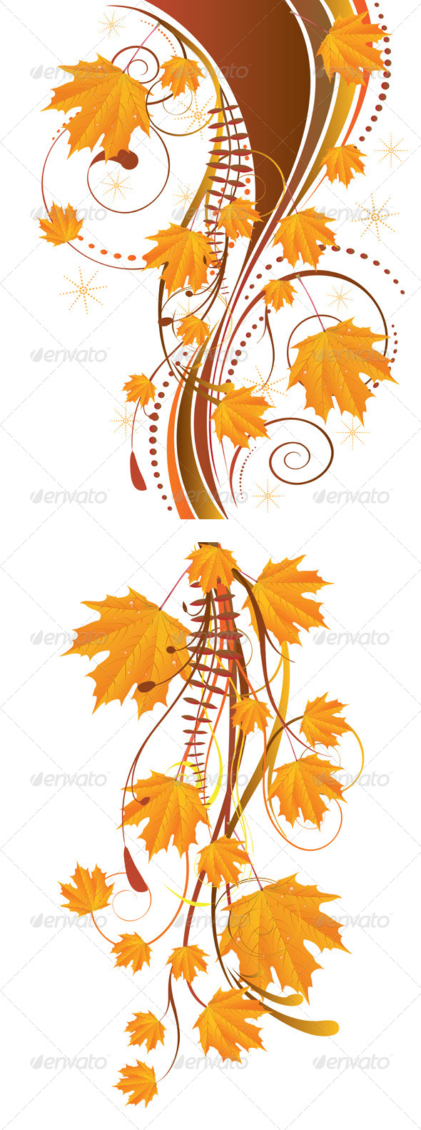 Autumn Ornament with Maple Leaves - Flourishes / Swirls Decorative