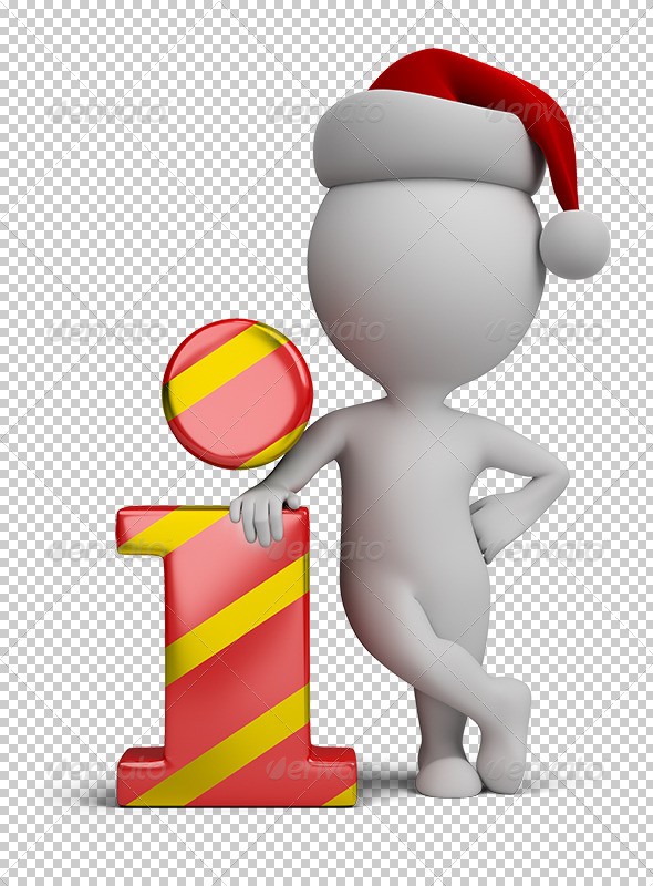 3D Small People - Santa and Info Icon - Characters 3D Renders