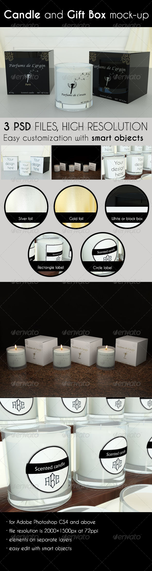 Candle and Gift Box Mock-Up - Product Mock-Ups Graphics