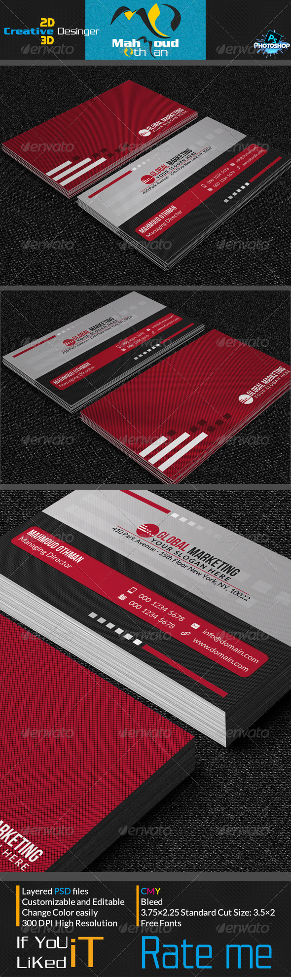 Simple Red Business Card V05 - Corporate Business Cards