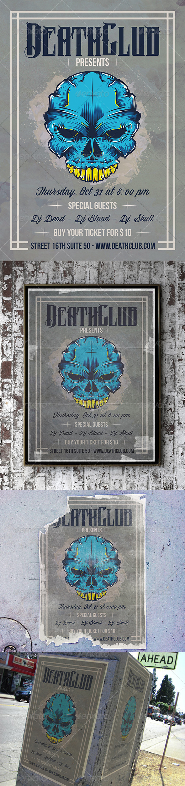 Skull Tattoo Flyer - Concerts Events