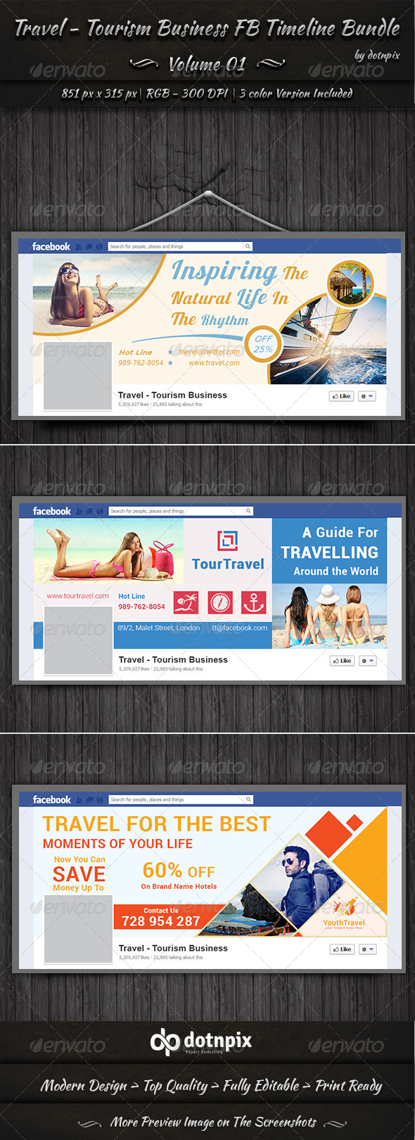 Travel Business FB Timeline Bundle | Volume 1 - Facebook Timeline Covers Social Media