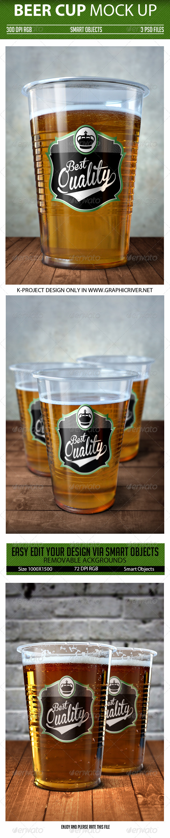 Beer Cup Mock Up - Product Mock-Ups Graphics