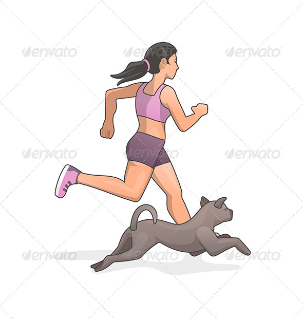 Jogging with Dog - Sports/Activity Conceptual