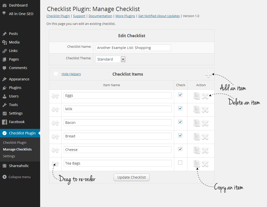 Checklist WordPress Plugin - Check List Builder - With Checklist Plugin, It's easy to add, manage and edit Checklists, from directly in your post or page, or from the special management screen.