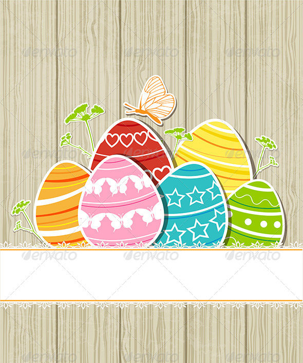 Wooden Easter Background with Eggs - Miscellaneous Seasons/Holidays