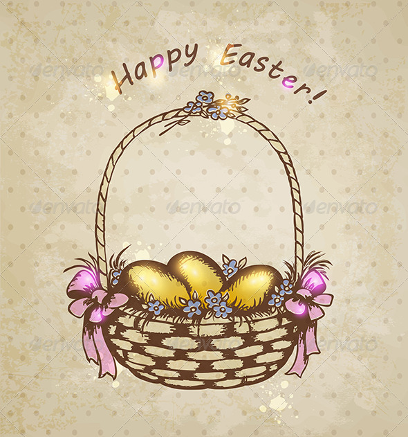 Easter Basket with Golden Eggs - Miscellaneous Seasons/Holidays