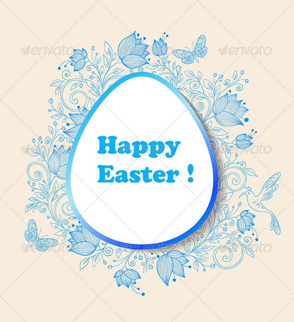 Easter Background with Blue Flowers - Backgrounds Decorative