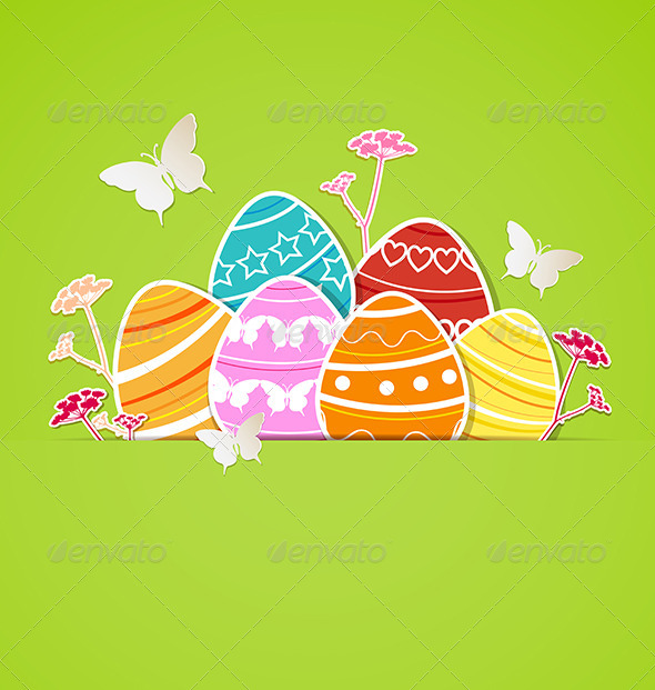 Green Easter Background with Eggs - Miscellaneous Seasons/Holidays