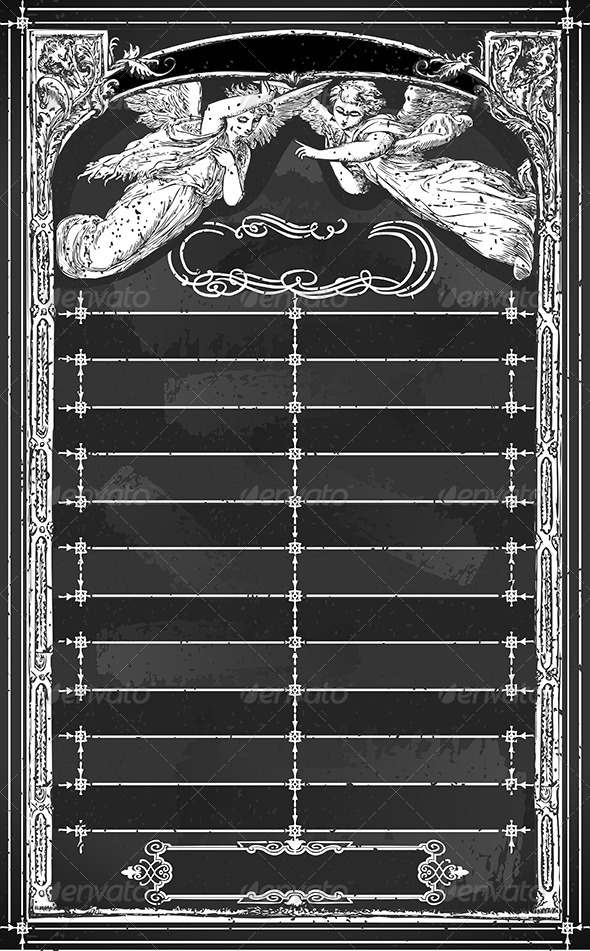 Vintage Menu with Angels on Blackboard  - Religion Conceptual