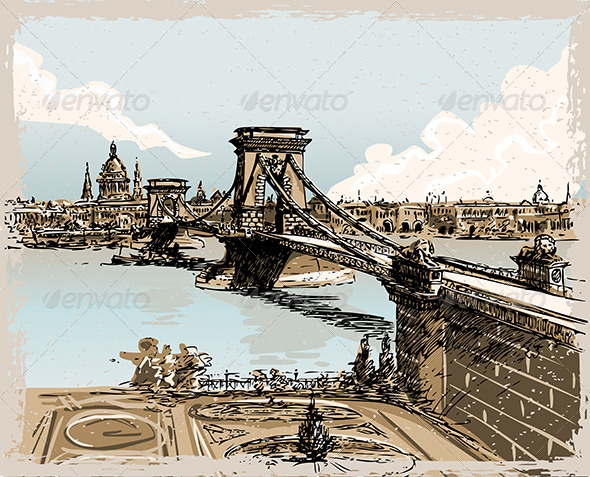 Vintage Hand Drawn View of the Bridge in Budapest - Buildings Objects