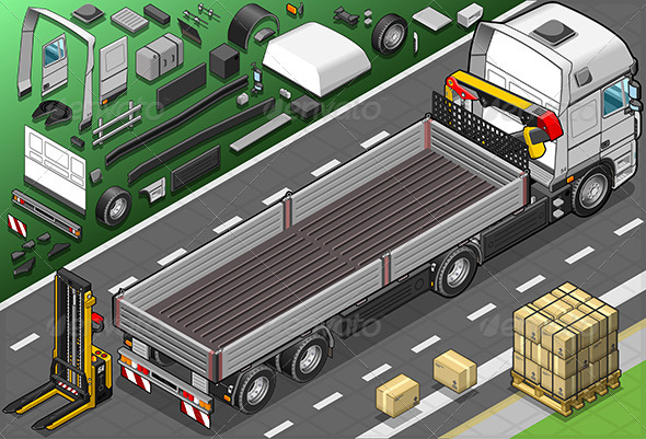 Isometric Pick Up Truck in Rear View - Objects Vectors