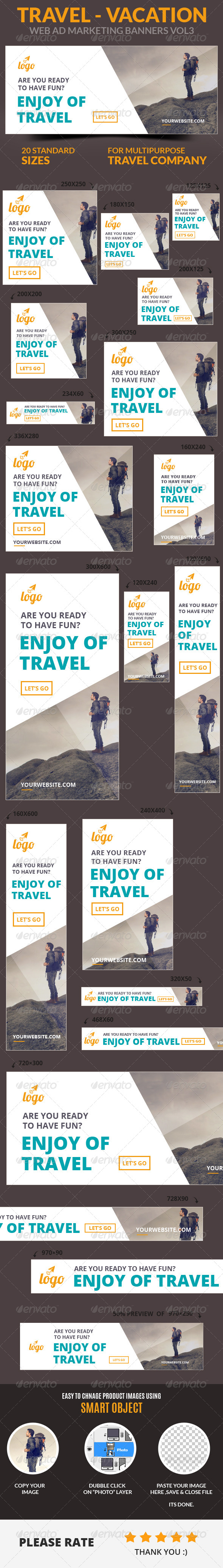 Travel - Vacation Web Ad Marketing Banners Vol3 - Banners & Ads Web Elements