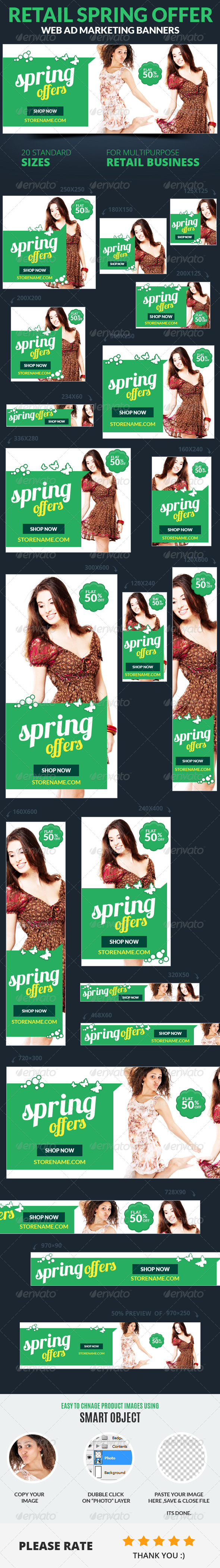 Retail Spring Offer Web Ad Marketing Banners - Banners & Ads Web Elements