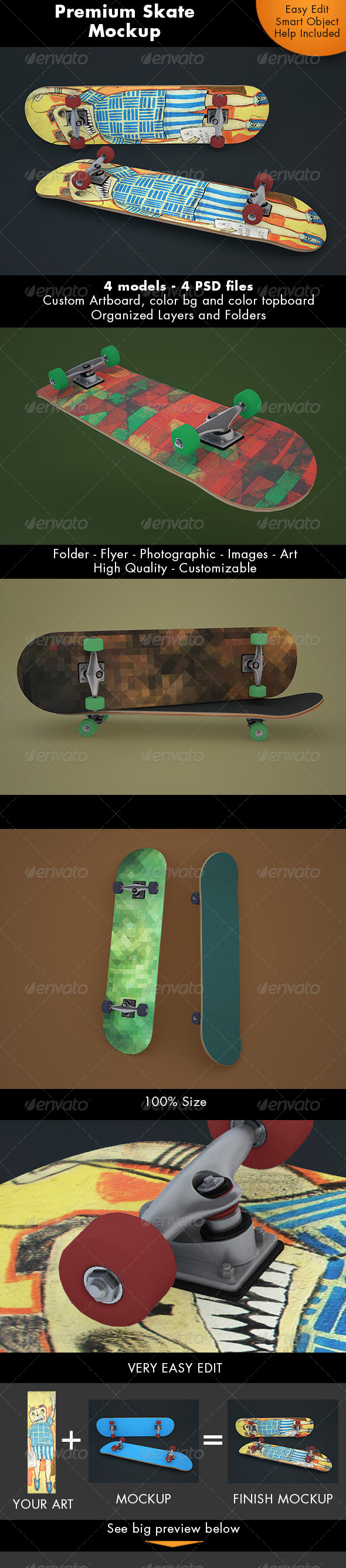SkateBoard Mockup - Miscellaneous Product Mock-Ups