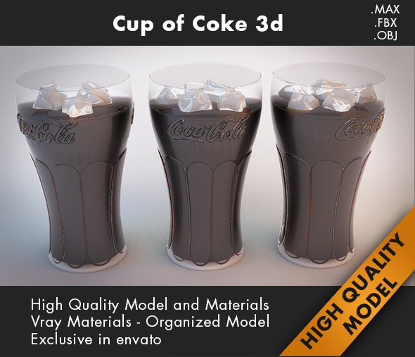 Cup Coca Cola 3d - 3DOcean Item for Sale