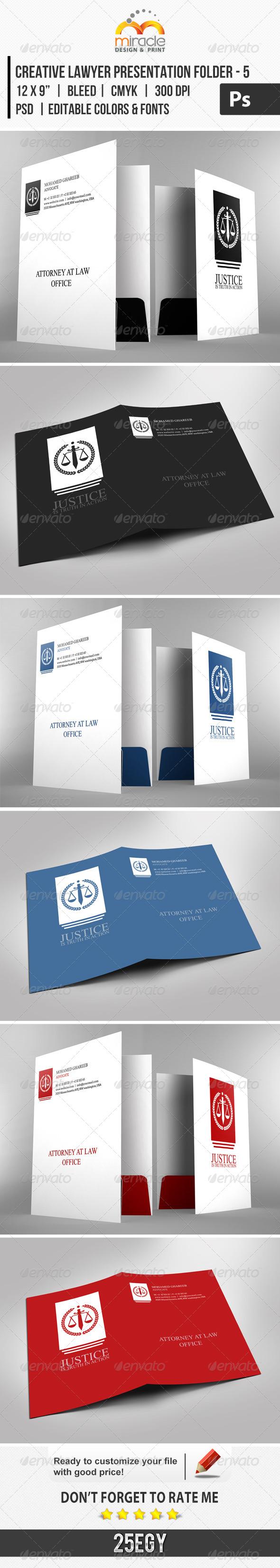 Creative Lawyer Presentation Folder #5 - Stationery Print Templates