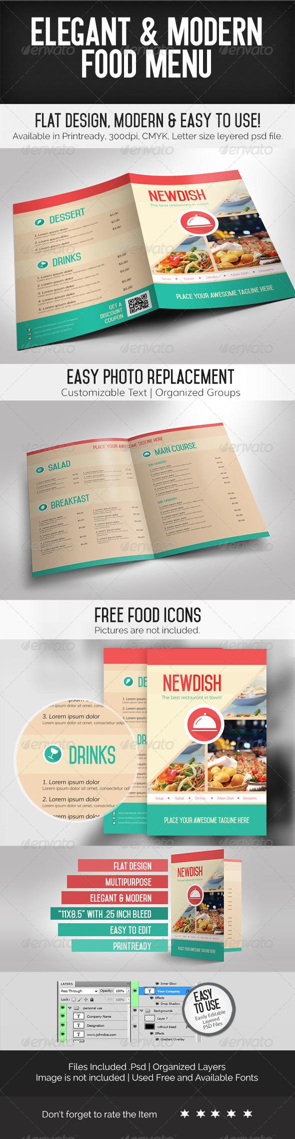 Elegant & Modern Food Menu - Food Menus Print Templates