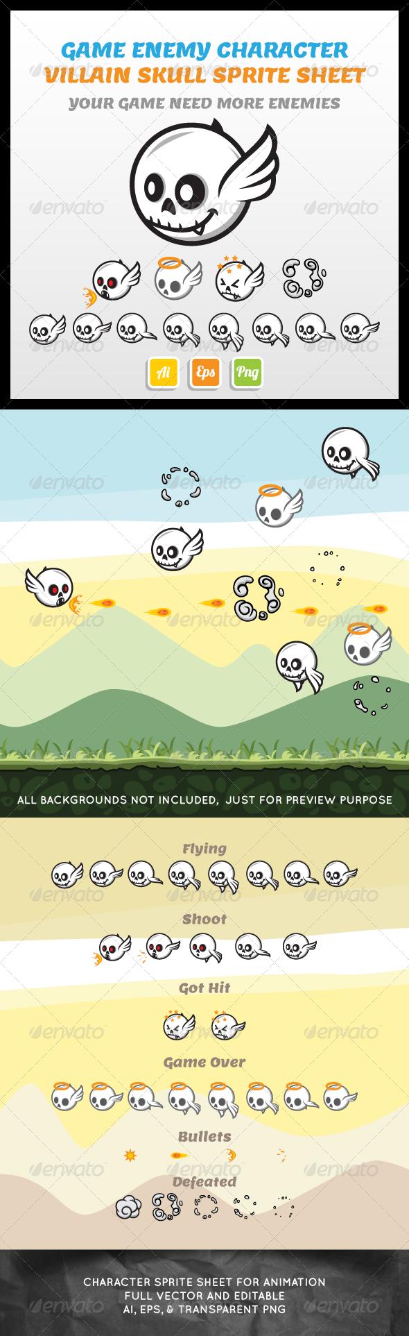 Villain Skull Sprite Sheet - Sprites Game Assets