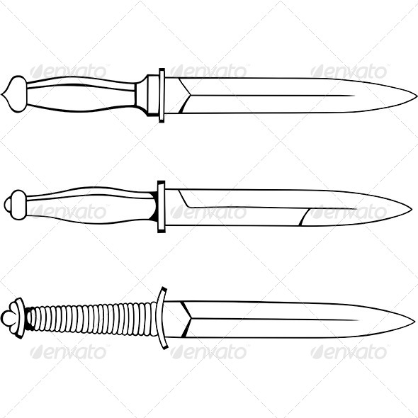 Military Knives - Man-made Objects Objects