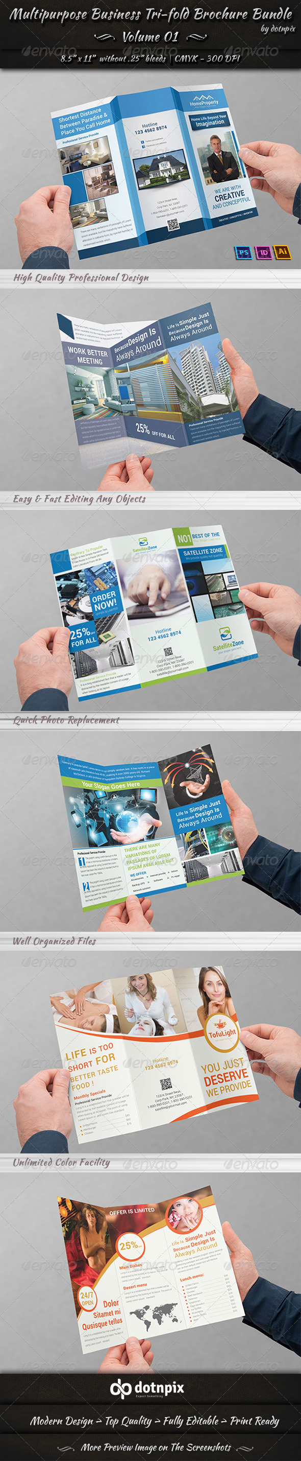 Multipurpose Tri-fold Brochure Bundle | Volume 1 - Corporate Brochures