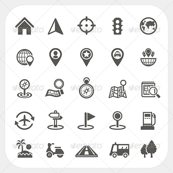Map and Location Icons Set - Travel Conceptual
