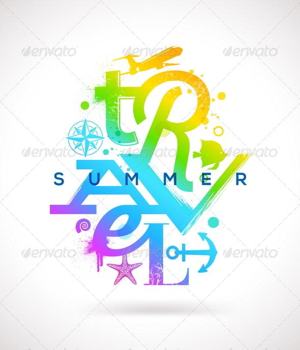 Summer Travel Multicolored Type Design - Travel Conceptual