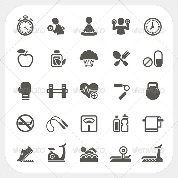 Health and Fitness Icons Set - Sports/Activity Conceptual