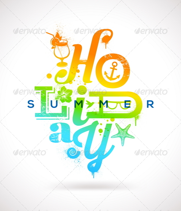 Summer Holidays Multicolored Design - Travel Conceptual