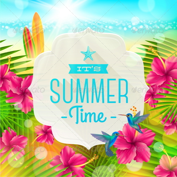 Summer Greeting Illustration - Travel Conceptual