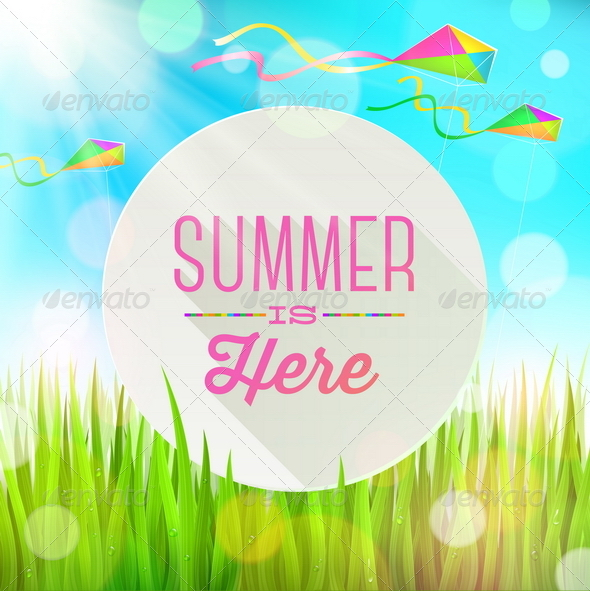 Summer Greeting with Kites and Grass - Seasons Nature