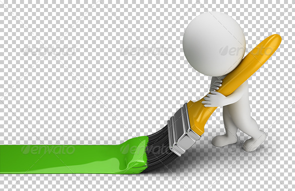3D Small People - Green Paint Brush - Characters 3D Renders