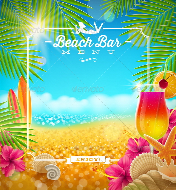 Tropical Beach Bar Menu Design - Nature Conceptual