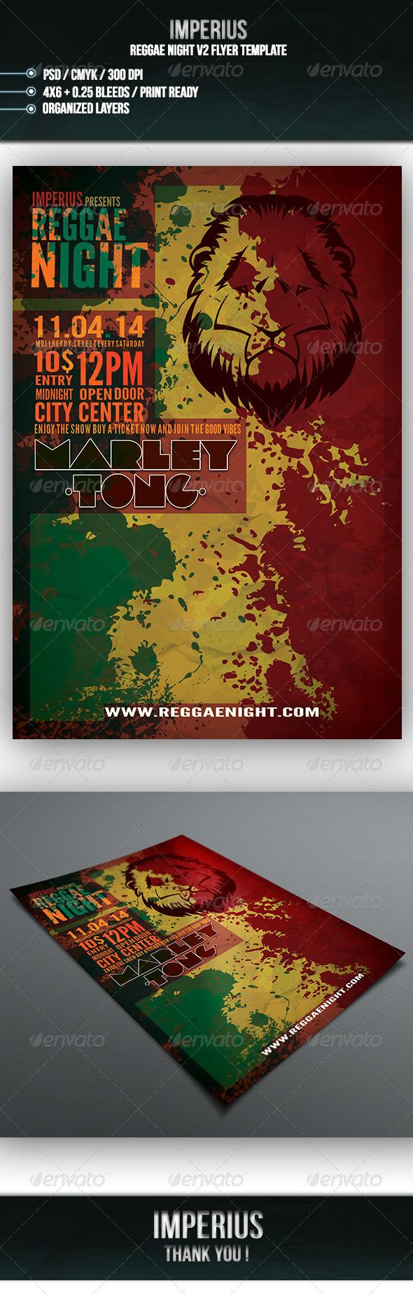 Reggae Night V2 - Events Flyers