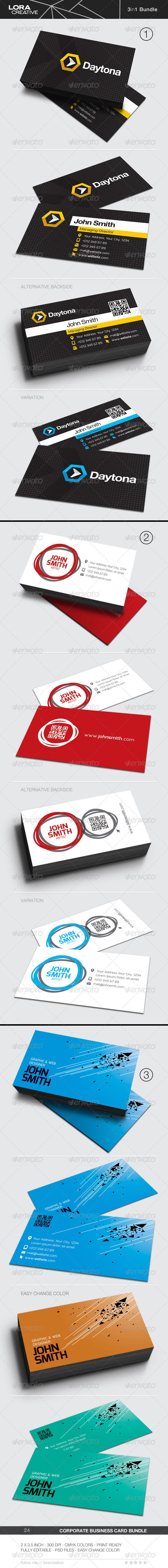 3 in 1 Business Card Bundle - 24 - Business Cards Print Templates