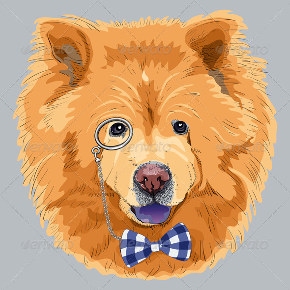 Cartoon Hipster Chow-Chow Dog  - Animals Characters