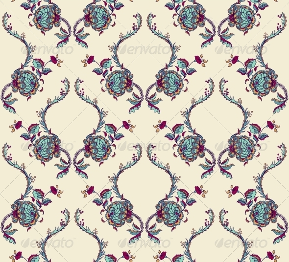 Elegance Seamless Pattern with Flowers - Flourishes / Swirls Decorative