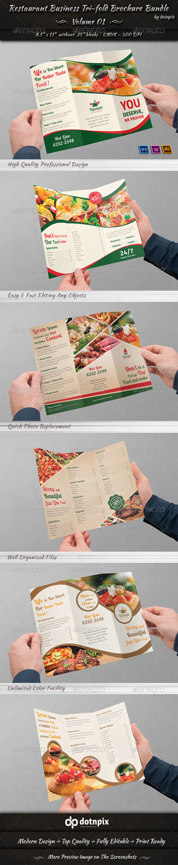 Restaurant Tri-fold Brochure Bundle | Volume 1 - Corporate Brochures