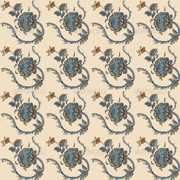 Elegance Seamless Pattern with Flowers Ornament - Flourishes / Swirls Decorative