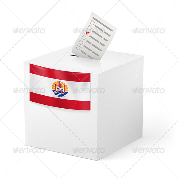 Ballot Box with Voting Paper French Polynesia - Miscellaneous Vectors