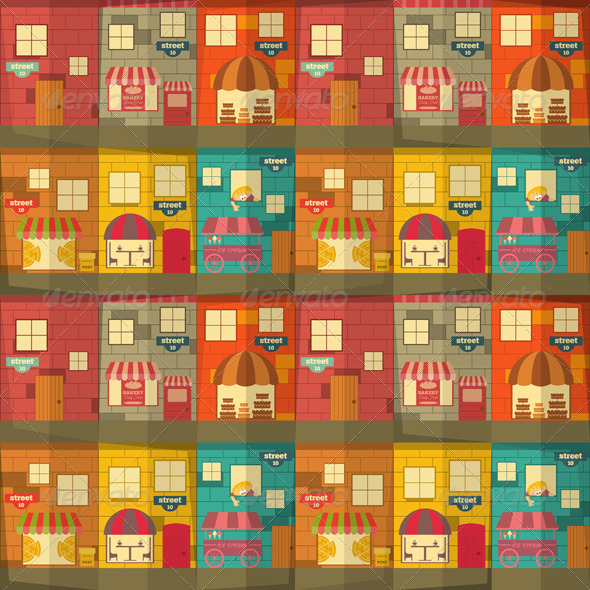 Town Seamless Background - Backgrounds Decorative