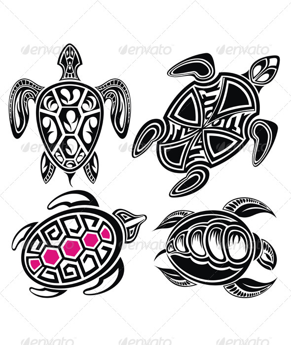 Vector Illustration of Turtles - Animals Characters