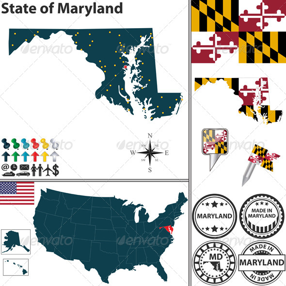 Map of state Maryland, USA - Travel Conceptual