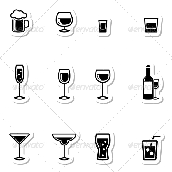 Drink Icons as Labels - Food Objects